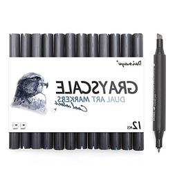Dainayw Grayscale Alcohol Art Marker Pens, Permanent Dual Ti