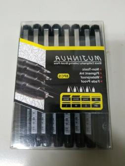 Hand Lettering Pens, Calligraphy Brush Pen, 8 Size Black Ink