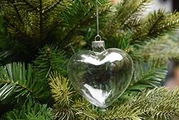 6 X Hanging Clear Heart Shape Glass Baubles Ornaments, Perfe