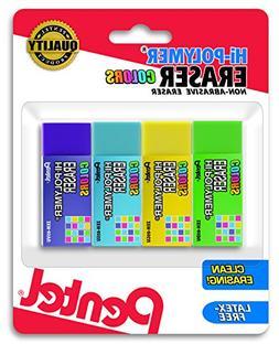 Pentel Hi-Polymer Block Eraser Small, Assorted Colors, Pack