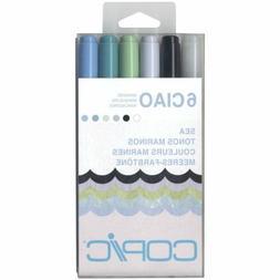 Copic I6SEA Ciao Markers, Sea Colors, 6-Pack
