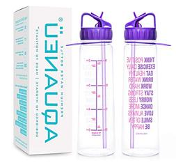 30oz Inspirational Water Bottle With Time Marker + Measureme