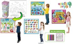 Kids Fantastic Washable Coloring Play Mat with 12 Washable M