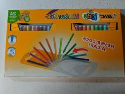 BIC KIDS MARKER KIT 24 COUNT NEVER LOOSE CAP EASY CARRY CASE