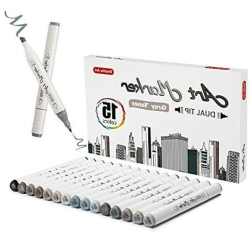 Shuttle Art 15 Colors Grey Tones Dual Tip Art Marker, Perman