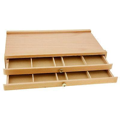 2 drawer artist wood pastel
