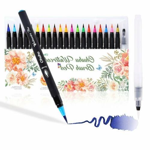 Ohuhu 20 Colors Watercolor Brush Marker Pens Soft Flexible T
