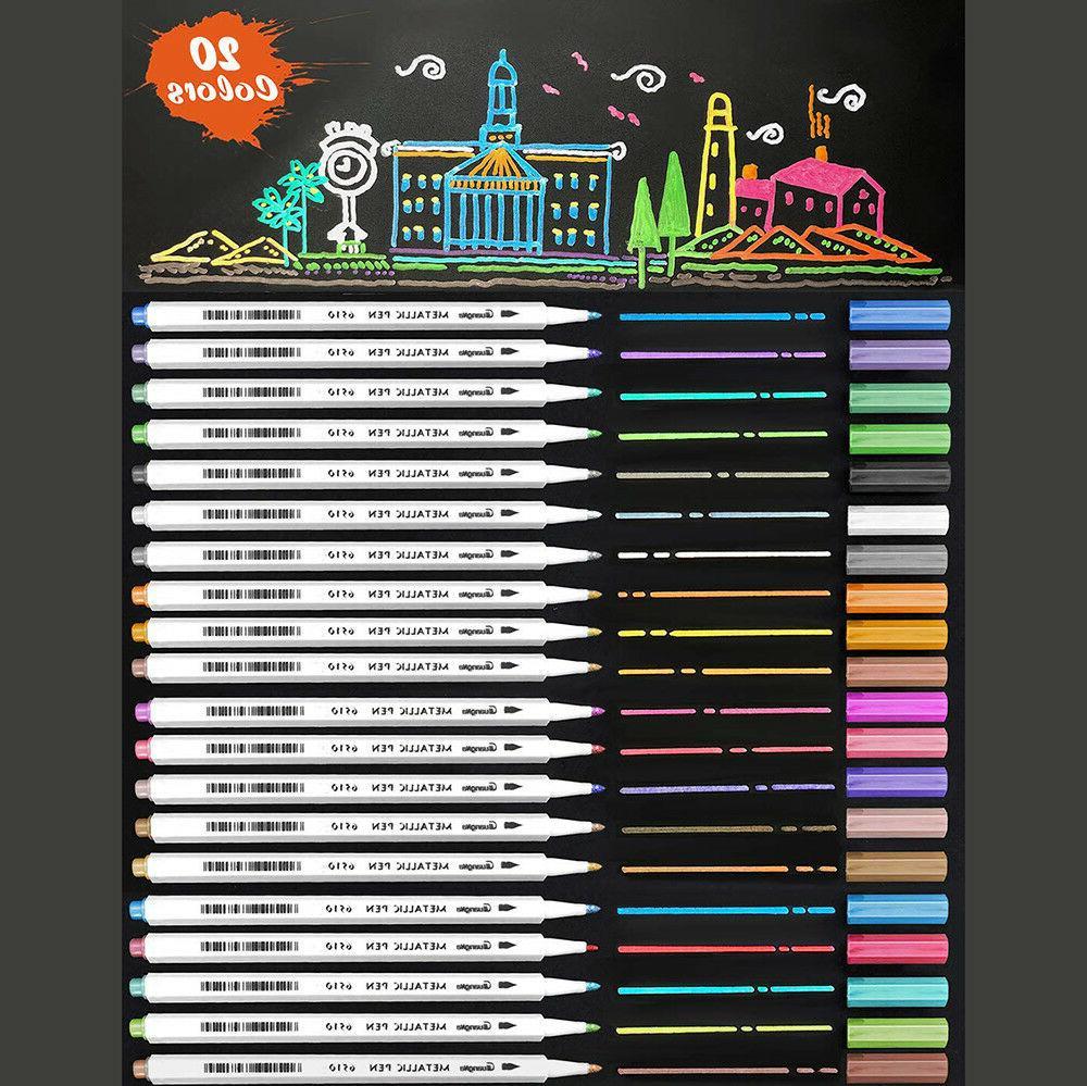 20 pack assorted colors metallic art pen