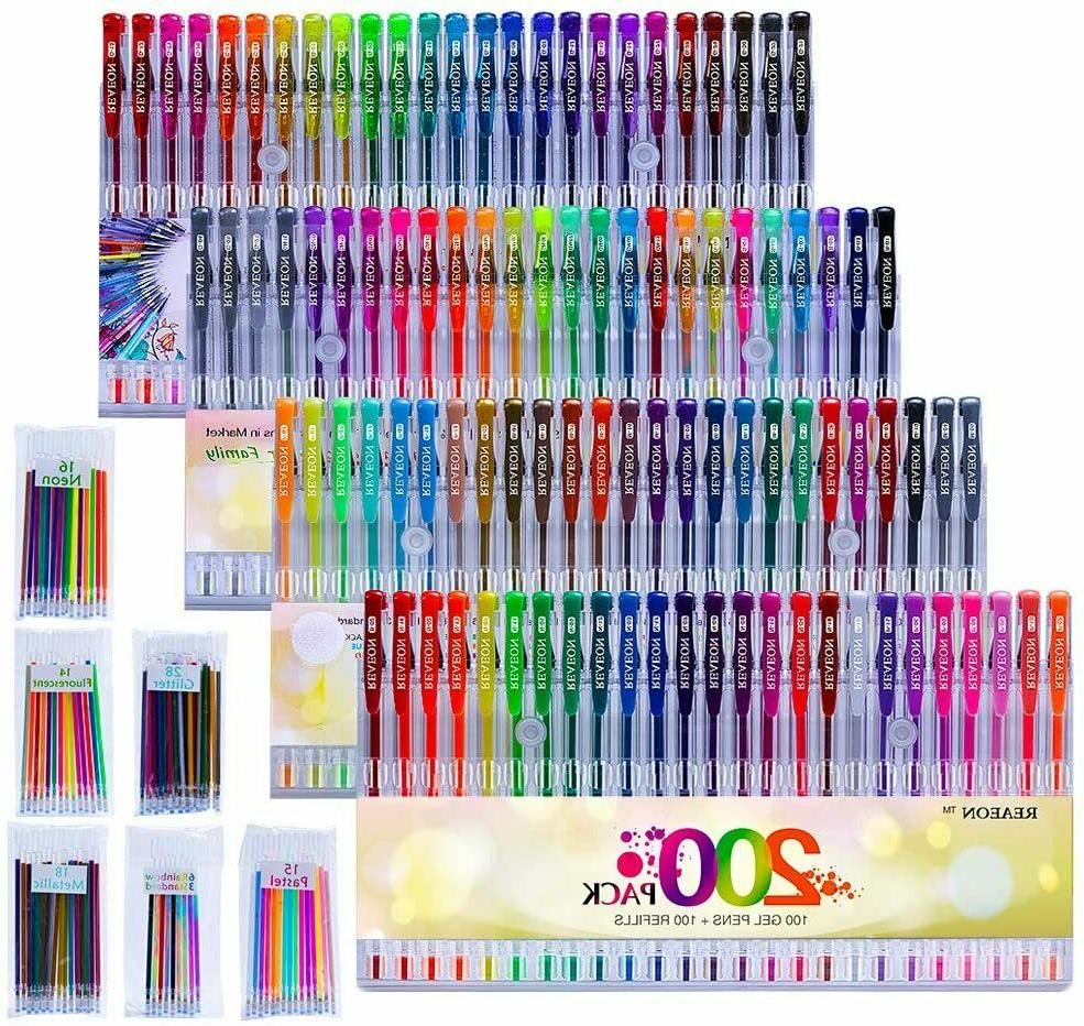 200 Gel Pens 100 Color Gel Markers Plus 100 Refills for Draw