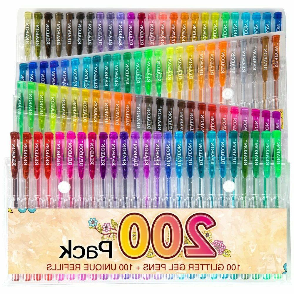 200 Gel Pen Set, 100 Plus Glitter Neon