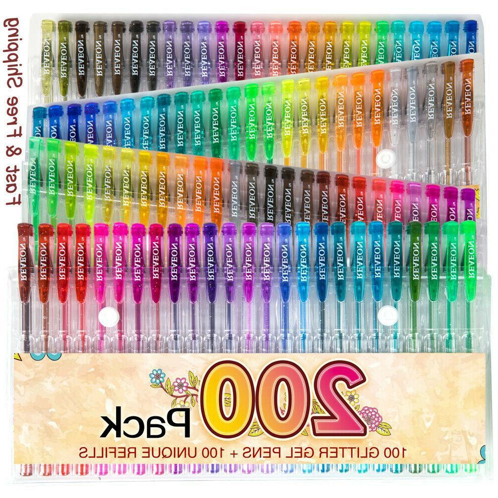 200 glitter gel pen set 100 gel