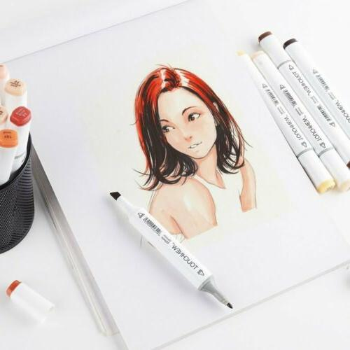 24 Markers Pen Graphic Sketch Drawing Alcohol Tip Pens
