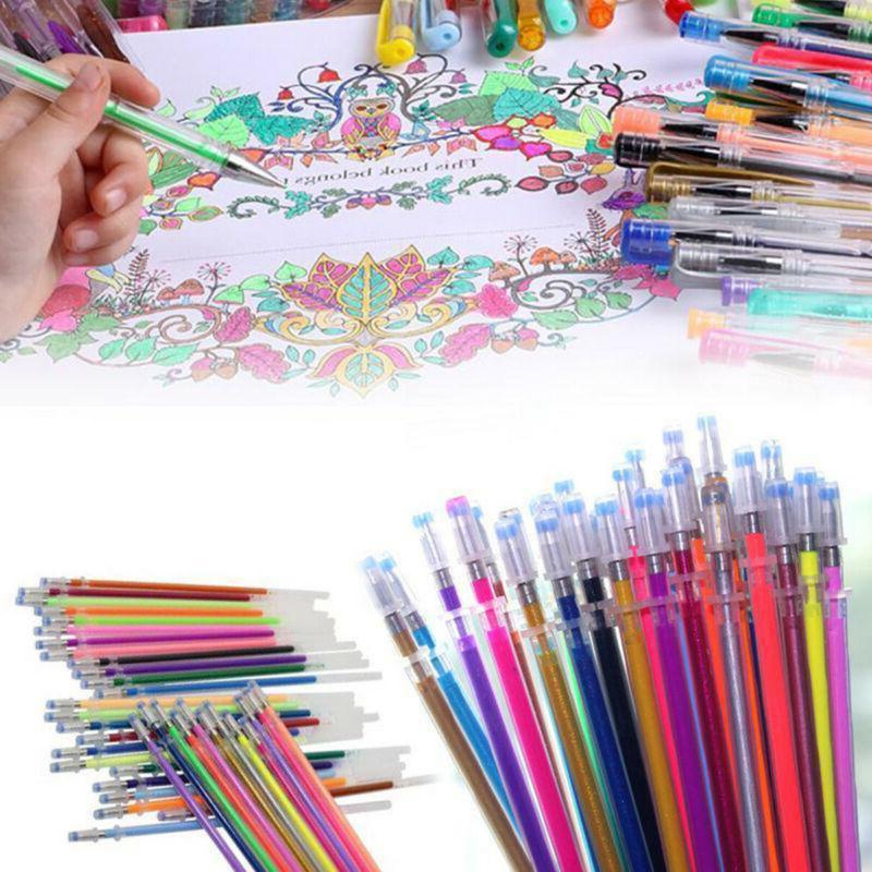 US 48 Colors Gel Pens Refill Glitter Coloring Drawing Painti