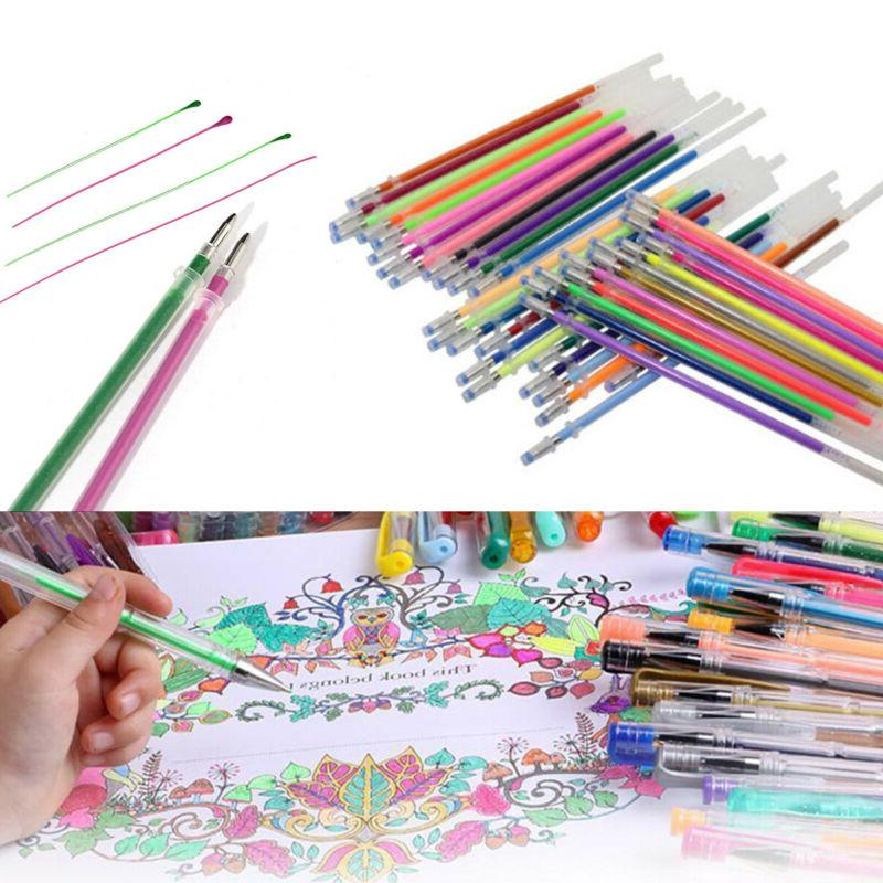 US 48 Colors Gel Pens Glitter Coloring Drawing Painting Craf
