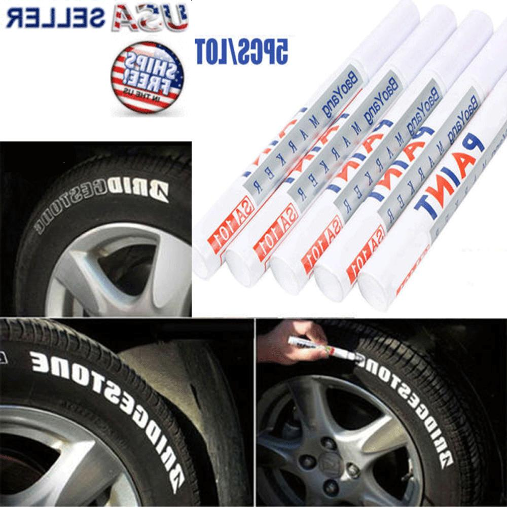 5x tire permanent white paint markers pen