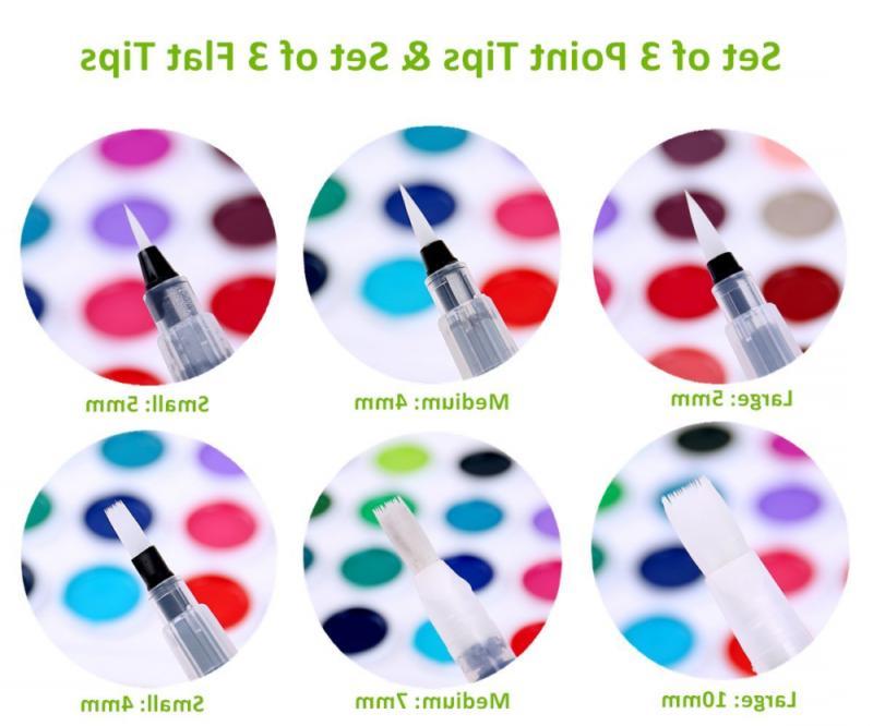 6 Colors Watercolor Brush Markers Art Paint Broad Pigment