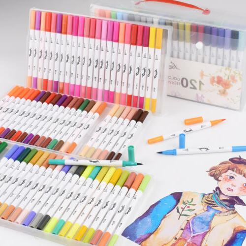 120 Markers Dual Tips Paint Drawing Art