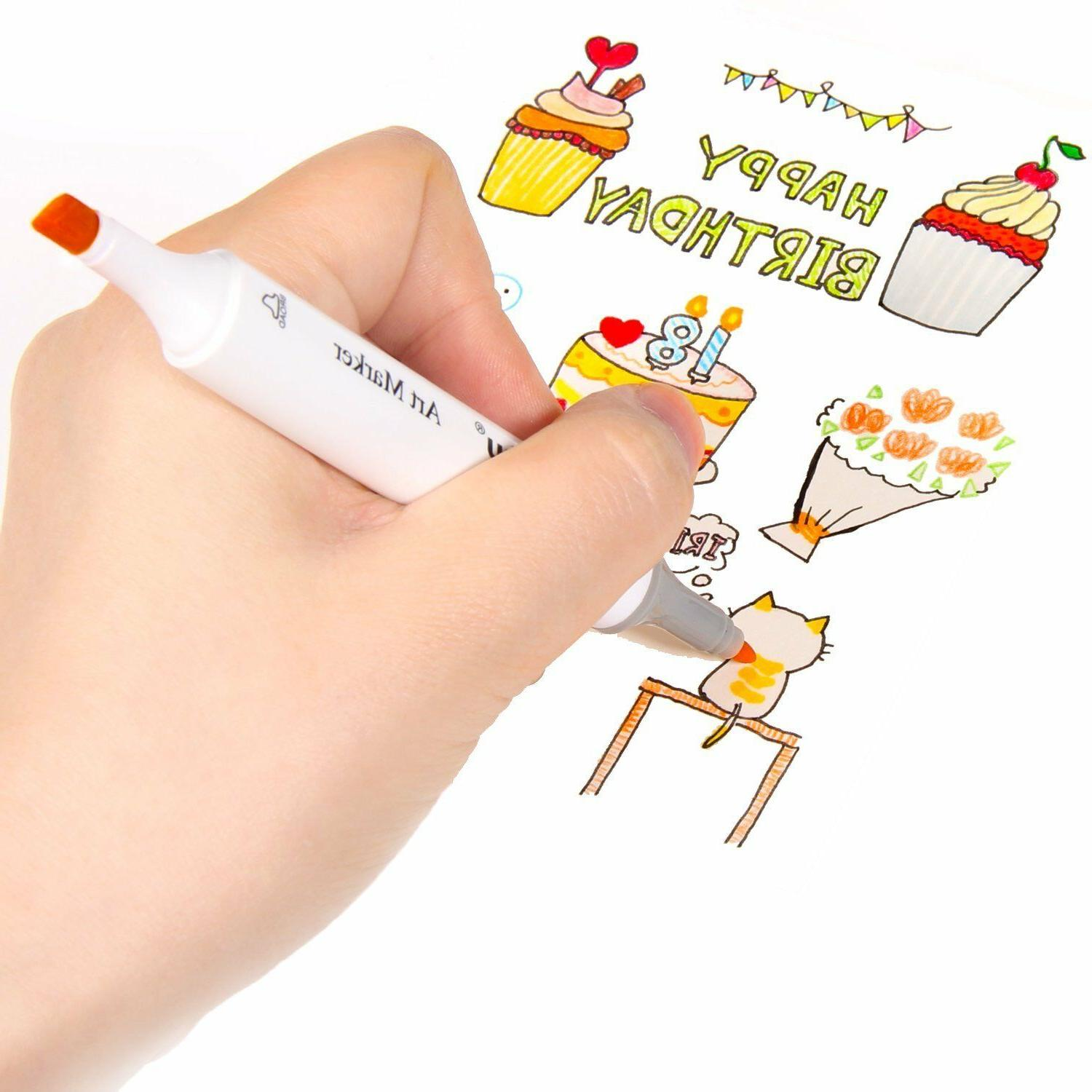 Ohuhu 80 Tip Twin Marker Pens Adult Drawing Kids