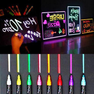 8pcs Dual Nib Fluorescent Highlighter Wet Liquid Chalk Neon