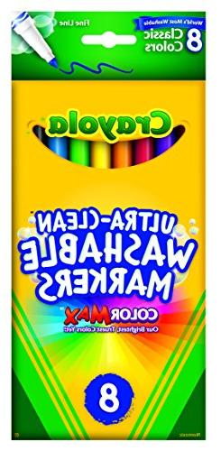 Crayola 8 Pack Ultra-Clean Fine Line Washable Markers, Class