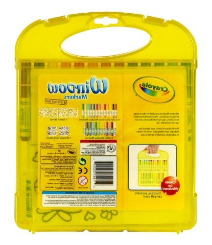 Crayola Stencil Easy Clean Washable Mini Window Stencils 2 Cling Storage Case for Easy Travel, Creativity Gift 4 & Up