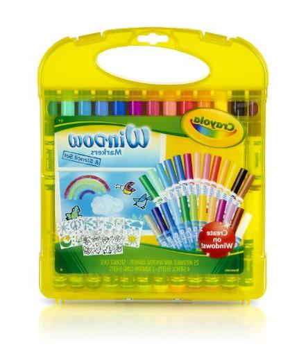 Crayola Window Markers & Stencil Set Easy To Clean Up, 25 Wa