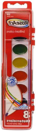 RoseArt 8-Color Washable Watercolors with 1 Paintbrush, Pack