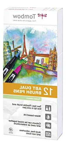 Tombow ABT Dual Brush Pen with two tips, Pastel colour, 12 p
