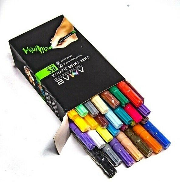 Acrylic Paint Pens-Set 28 Premium Markers Fine for DIY