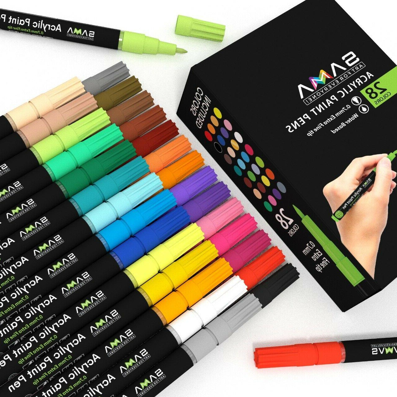 Acrylic 28 Premium Markers Fine Tip for Art Project