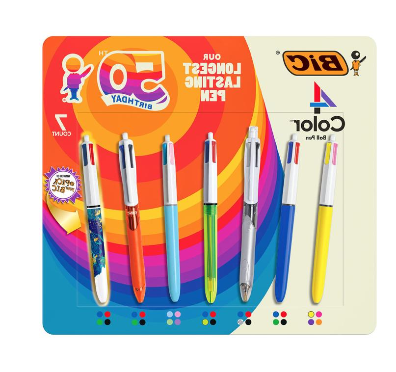 BIC 4-Color Ballpoint Pen, Medium Point , Assorted Inks, 3-C