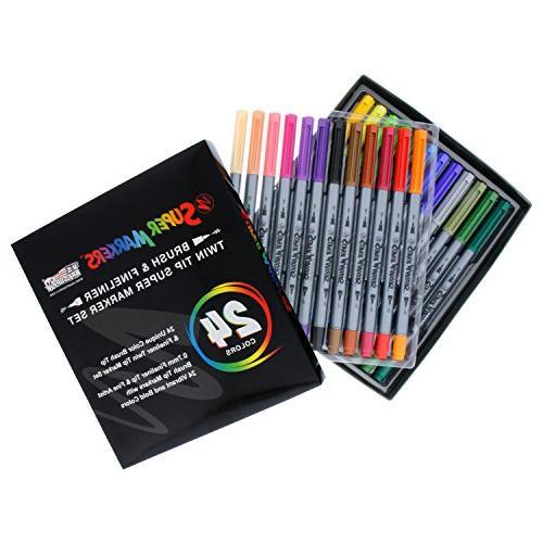 24 Color Brush Tip & Fineliner Twin Tip Marker Set