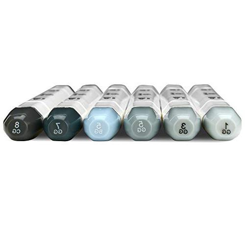 Professional Tip Gray Markers Set of 6 Grey Markers Drawing Sketching