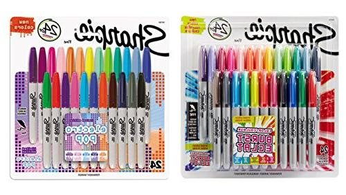Sharpie Color Markers, Colors, 24-Count, With Pack of Electro Pop Permanent Fine Point