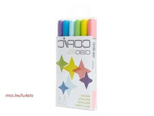 New Copic Ciao BRIGHTS 6 Pack Refillable Anime Coloring R32