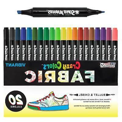 Crazy Colors Dual Tip Fabric & T-Shirt Marker 20 Color Set,