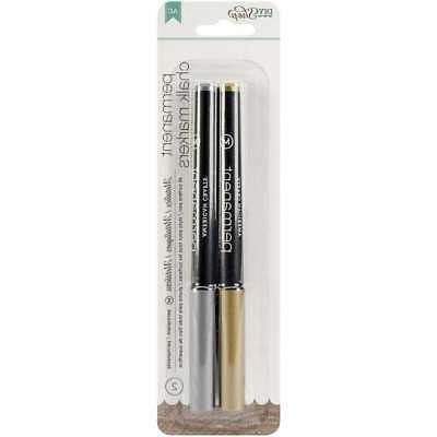 Diy Shop 2 Permanent Chalk Markers 2/Pkg-Gold & Silver/Broad