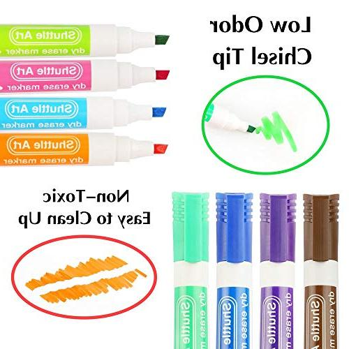 Dry Erase Markers Eraser, 15 Colors Art Board and Low-Odor, Tip Usable on Surface for Home
