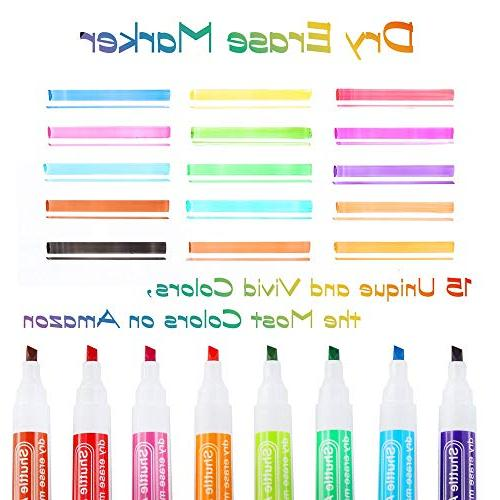 Dry Erase Markers Eraser, 15 Art White and Low-Odor, Tip Whiteboard Surface Home