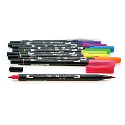 Tombow Pen Markers, 10-Pack. Blendable, Brush Fine Tip