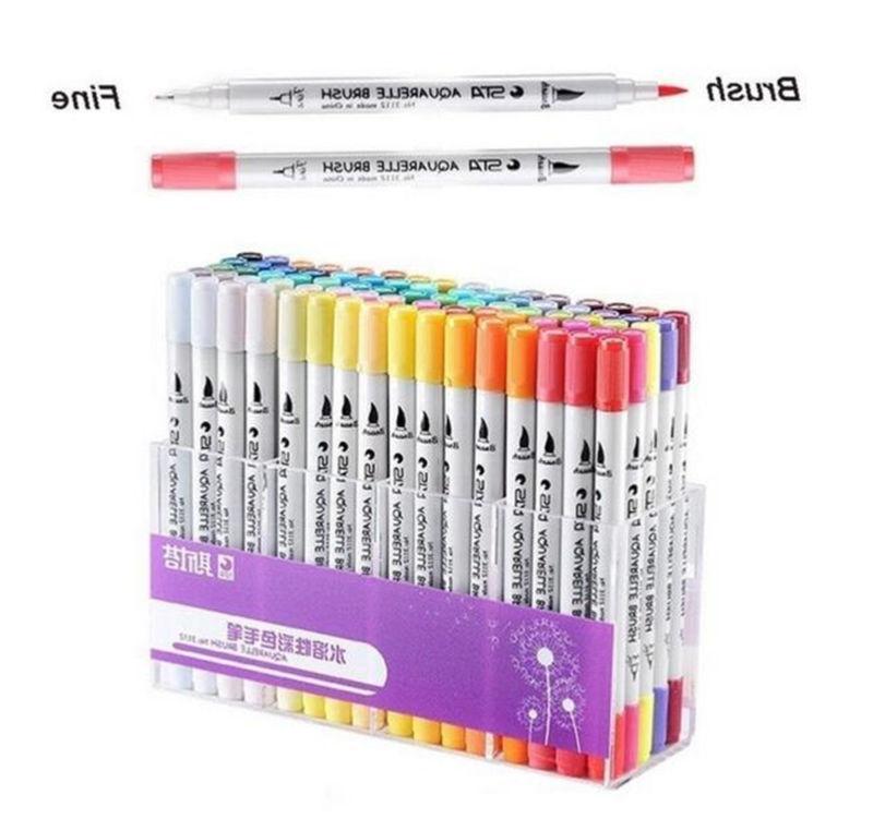 dual tip brush markers pens set art