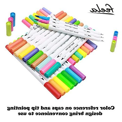 100 Brush with Art Feela Dual Brush Tip and Highlighters for Adult Coloring Manga, Bullet