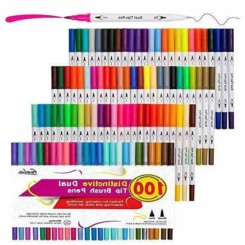 100 Dual Brush Pens Art Markers, Dual Brush Highlighters Coloring Books, Art, Sketching, Manga, Bullet Journal