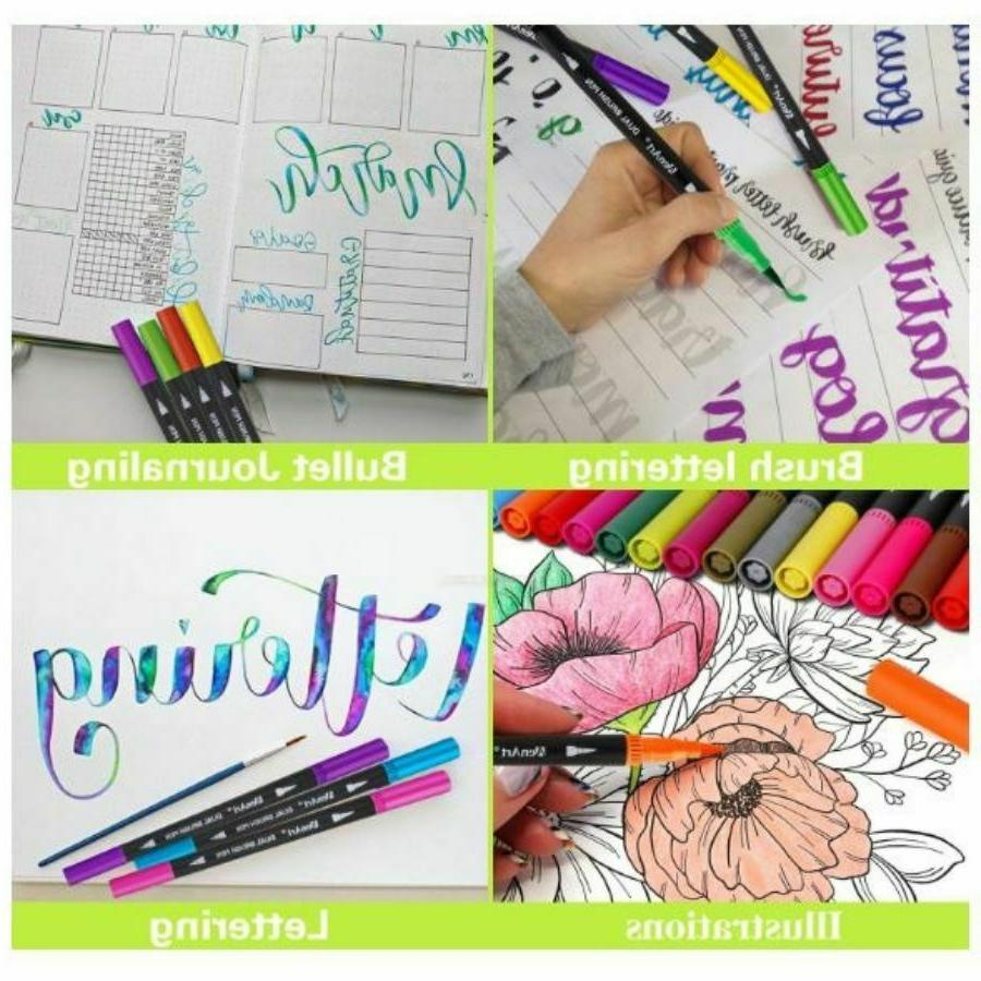 Dual Tip Brush Set Fine Colored Drawing Journal Planner Project