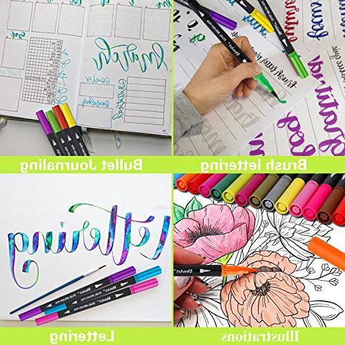 Dual Pens Journal Brush for Adult Coloring Planner Calendar Art Projects