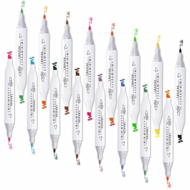 dual tip marker pens set permanent double