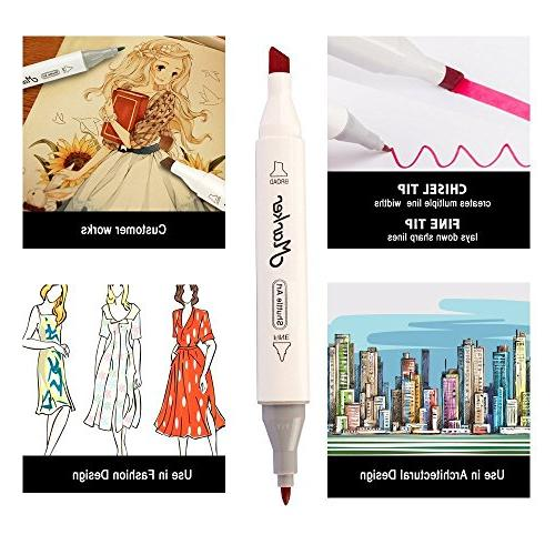 Shuttle Art 50 Colors Dual Tip Marker Pens with Case for Illustration Adult Card