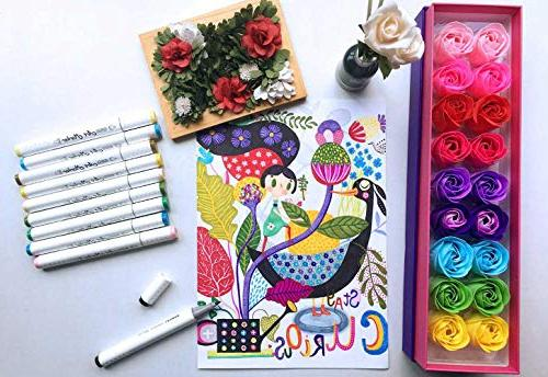 Shuttle Art 50 Colors Dual Art Marker Case Illustration Adult Coloring Card Making