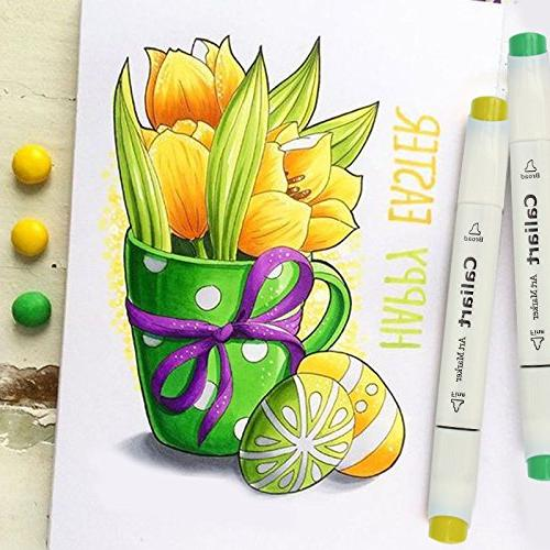 Caliart Alcohol Based Tip Art Drawing Coloring Markers Twin Sketch Adult Coloring Card Making