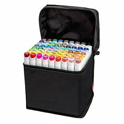 72 Colors Dual Tip Art Markers,Fine and Chisel Tip,Permanent